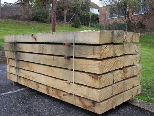 Untreated railway sleepers