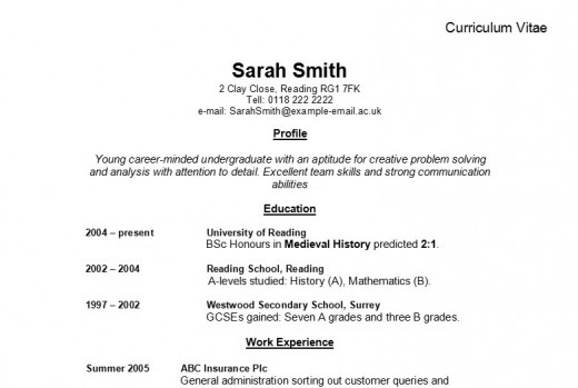 Advice on how to write a Curriculum Vitae (CV). This picture displays a british way of writing up a CV. Picture: WIkimedia Commons