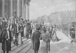 A grand wedding at La Madeleine, Paris. Illustrated 'Le Figaro', March 1900.