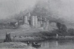 Kidwelly Castle, engraving from Hanes y Brytaniaid a'r Cymry (1883) by Gweirydd ap Rhys.