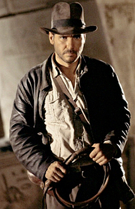 Indiana Jones, complete with his trademark leather jacket, fedora hat and bullwhip
