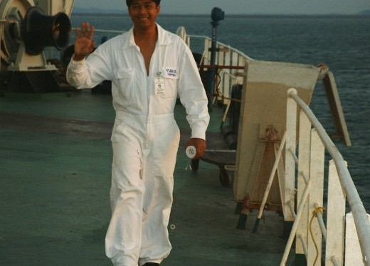 A Filipino seaman at the anchorage in Venezuela, 2008 (Photo by Travel Man)