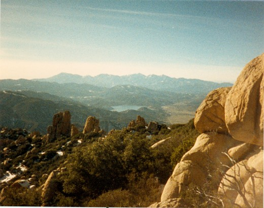 "From the top of the Pinancles Trail looking down on Lake Silverwood below and ""Mount Baldy"" in the distance.  This hike is worth the view.  This picture was taken in 1988, but it is still a beautiful view today."