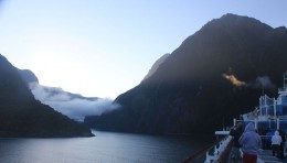 A view from the deck as the Diamond Princess enters Milford Sound.   Copyright 2011, Bill Yovino