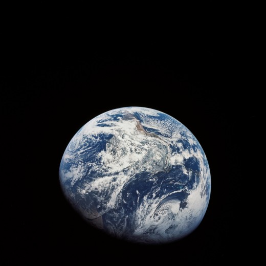 Taken by the Apollo 8 crew in 1968, this is the first image taken of the Earth in its entirety.