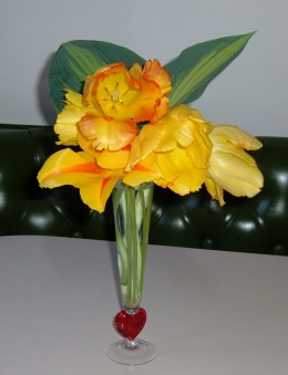 This clear glass vase with a red heart bottom is a pretty holder for these dramatic yellow Parrot Tulips. I used Hosta leaves for contrast.