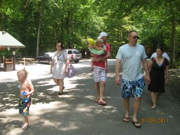 The gang heading to the pool