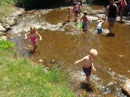 Playing in a creek is great fun for kids.