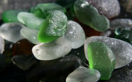 Green and white sea glass