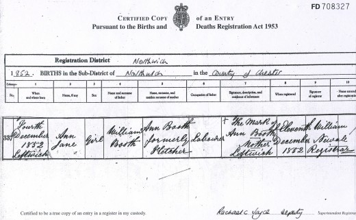 Ann Jane Booth's Birth Certificate