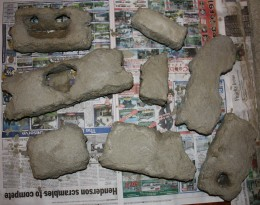 Photo By: Ian Leverette - Styrofoam has been cut out to resemble rocks - then brushed over with cement mixture.