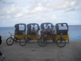 Bicycle taxis on port walkway