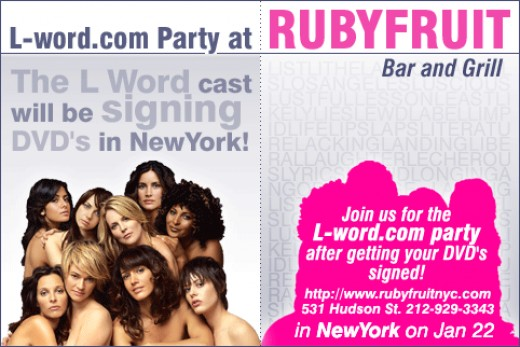"Rubyfruit Bar & Grill airs WNBA games and ""The L Word"" episodes almost every night of the week"