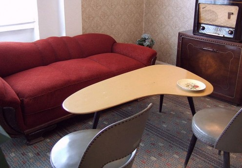 The kidney shape, evident in this vintage coffeee table,  was very popular in the 1950s.