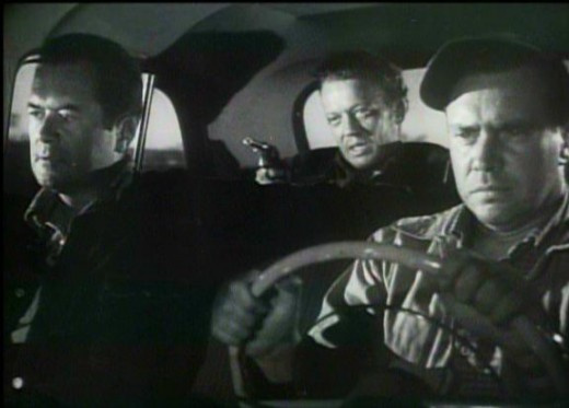 Edmond O'Brien, Frank Lovejoy and William Talman in The Hitch-Hiker