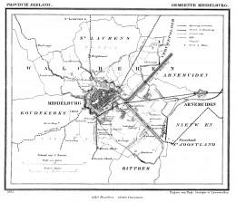 1866 map of Middelburg municipality, Zeeland, The Netherlands