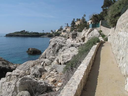 Coastal path from Monaco to Cap-d'Ail, Alpes-Maritimes, France