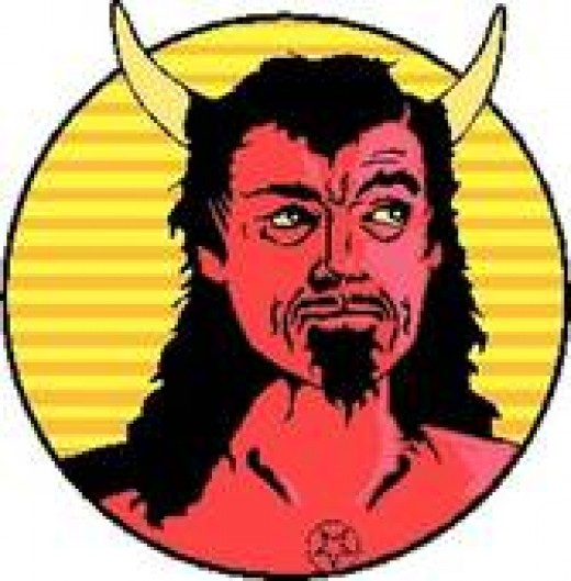 SATAN WOULD HAVE TO DO SOMETHING ABOUT THOSE HORRIBLE HORNS, BUT EQUAL OPPORTUNITY EMPLOYMENT RULES SAY THAT EMPLOYEES CAN WEAR TATS.
