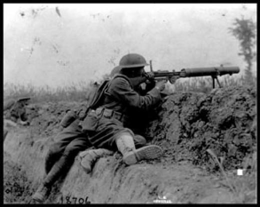 Allied soldier manning a machine gun