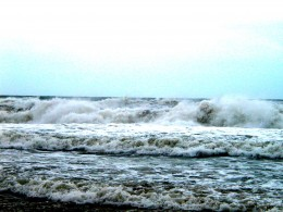 Angry Seas at Cape Hatteras before Hurricane Ophelia. Keep out of the water!