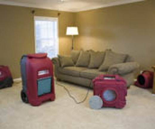 Water Damage Dry Out, with Drying Equipment.