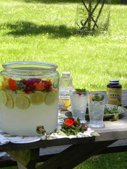 The ingredients for making Crystal's herbal lemonade and the finished project.