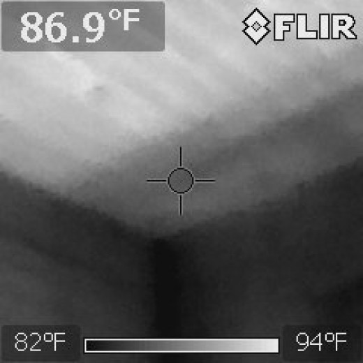 Corner exposed by using a thermal imaging camera.