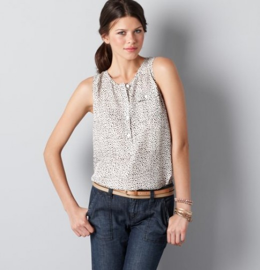 Breezy animal print shell tank from Ann Taylor Loft.