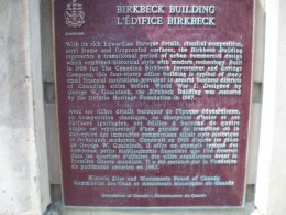 Historical plaque, Birkbeck Building, Toronto