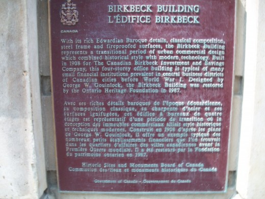 Historical plaque, Birkbeck Building, Toronto