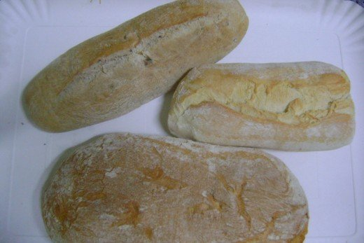 Ciabatta with Olive, Ciabatta Artigianale and Ciabatta Biologico.