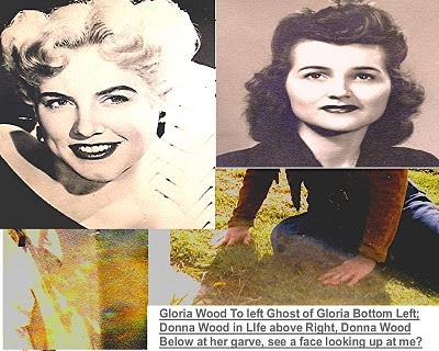 This is photo of Donna & Gloria Wood Big Band Singers from 1940's. I went to their homes in present day and snapped shots of their ghosts and went to where they are laid to rest and snapped a few ghost shots.