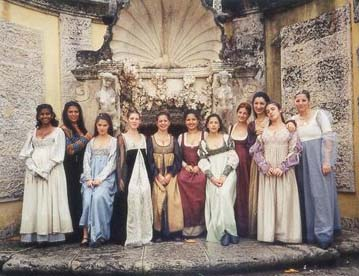 Italian courtesans dressed in clothing true to their era - the 15th and 16th century - the Renaissance