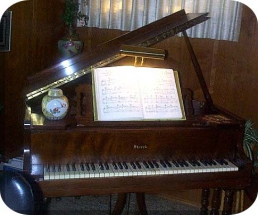 My little spinet grand in my den, occupying 4 feet x 4 feet with 11 keys short  keyboard.