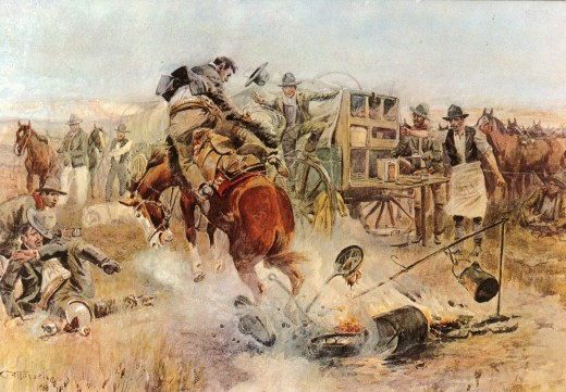Postcard reprinted from original painting by Charles Russell on display in Helena Montana