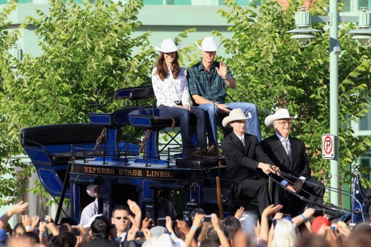The Royal couple dressed in rodeo attire arrive on a horse drawn carriage at a Government Reception at the BMO Centre on July 7, 2011 to watch the Calgary Stampede preview