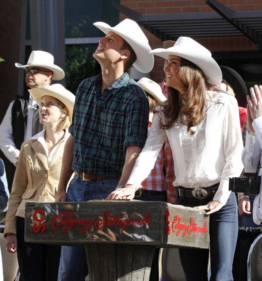 The Duke and Duchess launch the ticker tape spectacle that traditionally kicks-off the Calgary Stampede Parade, July 8, 2011