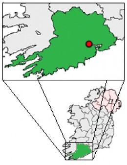 Map location of Cork City, Ireland