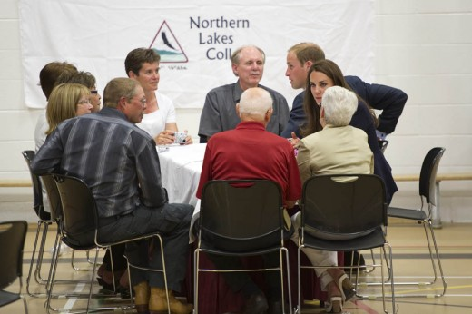 The Duke and Duchess meet residents as they visit a fire-devastated town in Slave Lake, Alberta. The town was partially destroyed by a forest fire earlier this year.