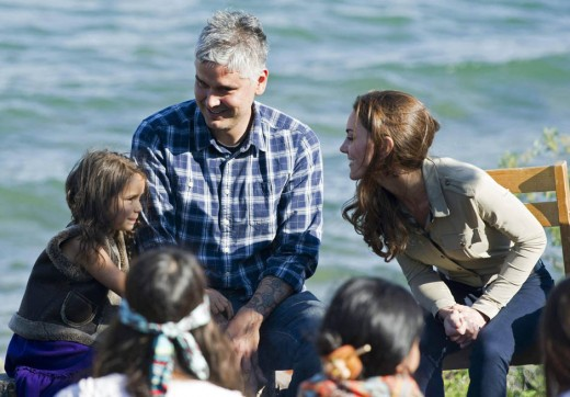 The Duchess with local residents while visiting Blatchford Lake, Northwest Territories in Canada