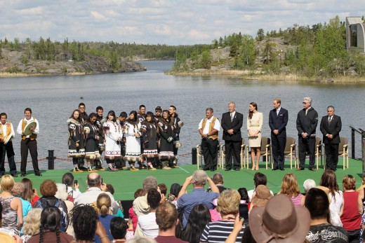 The Duke and Duchess look on during an an official welcome ceremony at the Somba K'e Civic Plaza in Yellowknife, Northwest Territories