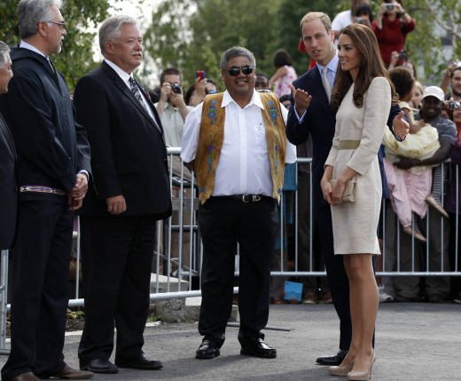 The Royal couple are greeted at the Somba K'e Civic Plaza in Yellowknife, Northwest Territories