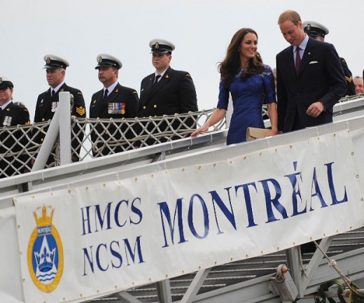 The Royal couple disembark from the HMS Montreal in Quebec City