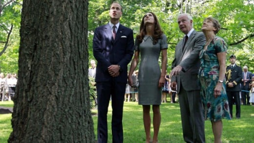 The Duke and Duchess look at a tree planted by Prince Charles and the late Princess Diana with Canada's Governor General David Johnston (2nd R) and his wife Sharon (R) at Rideau Hall in Ottawa