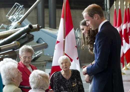 The Duke and Duchess greet war brides and veterans at the War Museum in Ottawa