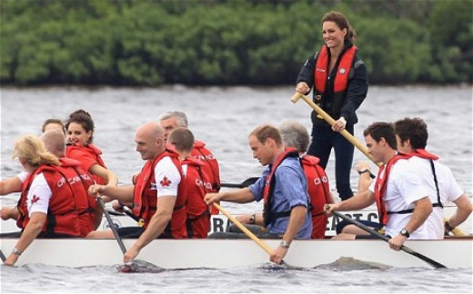 The Duchess back at the helm of a dragon boat on Dalvay Lake near Charlottetown, Prince Edward Island