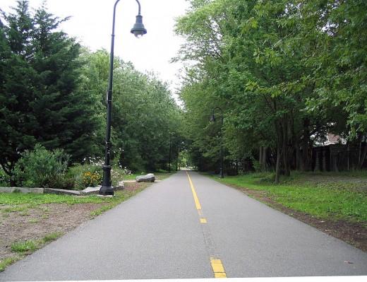A bike path in Somerville, MA.