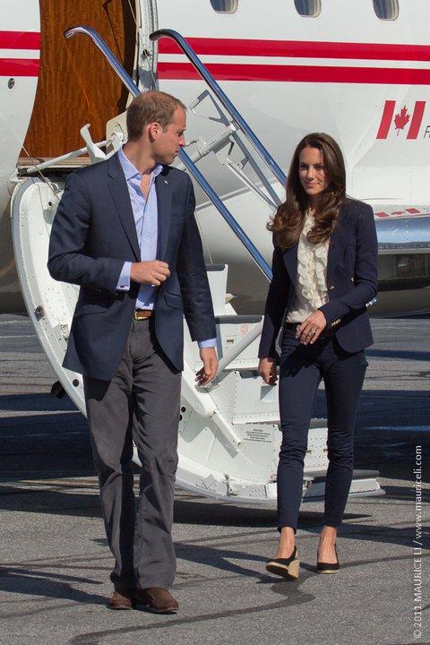 William and Catherine arrive at Yellowknife Airport to board a jet bound for Slave Lake on July 6, 2011