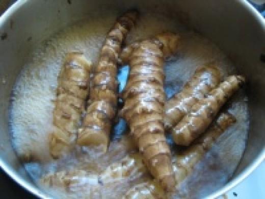 Jursalem artichokes cooking