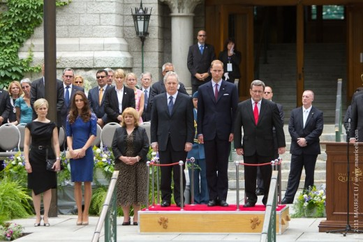 The Duke and Duchess take part in the Freedom of the City Ceremony at city hall along with Quebec Premier Jean Charest